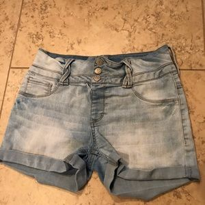 High waisted light blue shorts
